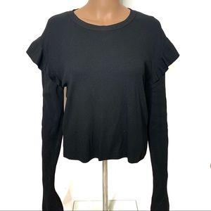 Zara Black Ruffle Sleeve Ribbed Longsleeve